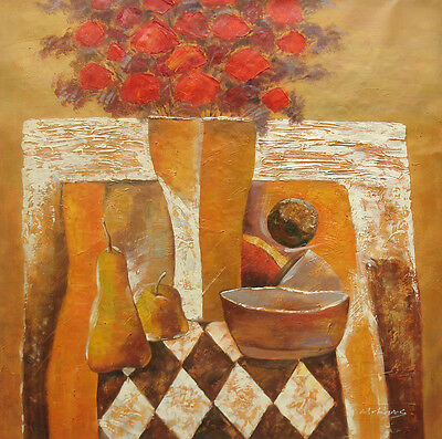 """Large Contemporary Oil Painting of Still Life Fruit Flowers Vase on Table 30x30"""""""