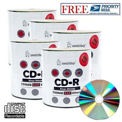 500 Pack Smartbuy CD-R 52X 700MB Shiny Silver Blank Record Disc Priority Mail