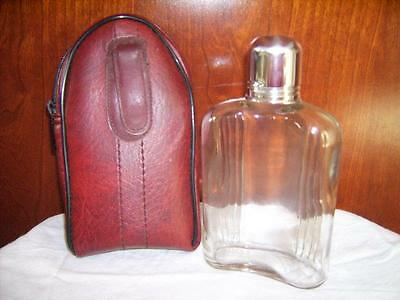 Vintage glass flask with metal lid and case