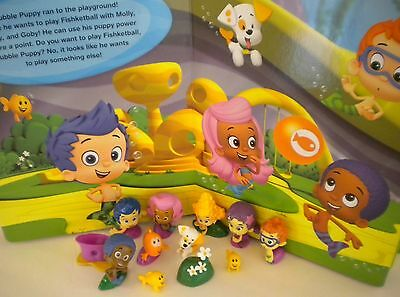 NEW Bubble Guppies Book Playset and Toy PVC Figures Lot Deluxe Play Set