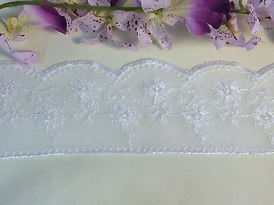 "3.5"" Soft Mesh Trim Lace Scallops and Floral Embroidery, 3 Yard Lot, White"