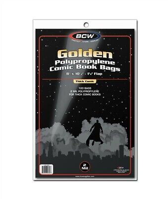 1000 BCW THICK Golden Age Comic Book NON-RESEAL Bags + Acid Free Backer Boards