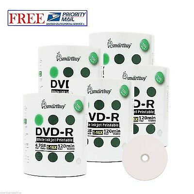 500 Pack Smartbuy 16X DVD-R 4.7GB White Inkjet Hub Printable Disc Priority Mail