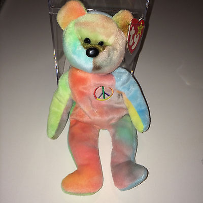 TY Beanie Baby Very Rare PEACE BEAR original collectible with TAG ERRORS
