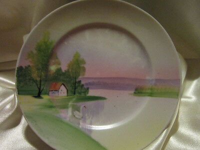 VINTAGE SMALL NIPPON  PLATE**SWAN ON LAKE**