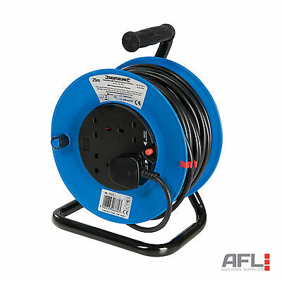 25M 50M Mains Power Extension Cable Reel 4 Socket 240V 13A Freestanding