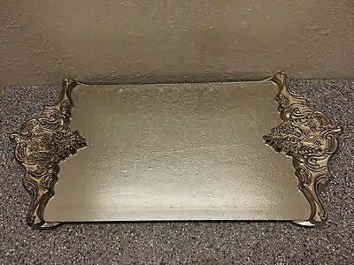 VINTAGE GODINGER SILVER PLATE VICTORIAN ORNATE GLASS FOOTED MIRROR VANITY TRAY