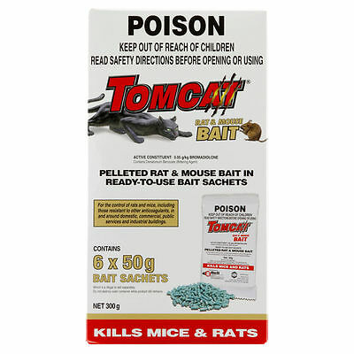 Tomcat Rodent Bait Sachets 300g (6 x 50g) ready to use - Made in USA