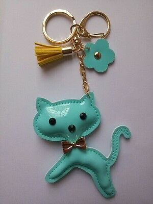 Cute Blue Cat Flower Gold keychain Charm Pendent Purse Bag KeyChain Ring