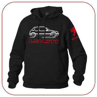 Felpa Nera Sweatshirt Black Peugeot 205 1.9 Gti Old France Vintage Car