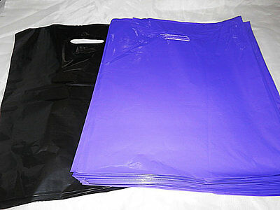 100 12x15 Glossy Purple and Black Low-Density Plastic Merchandise Bags WHandles