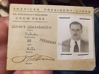 VINT AMERICAN PRESIDENT LINES WORKER'S PHOTO ID PRES MADISON