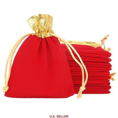 25pcs Red Velvet Drawstring Pouches Jewelry Wedding Party Gift Bags 10cm x 12cm