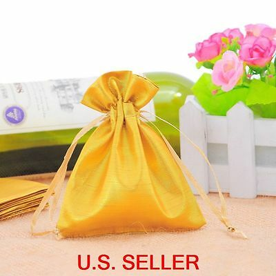25 Yellow Polyester Drawstring Pouches Jewelry Wedding Party Gift Bags 10x12cm