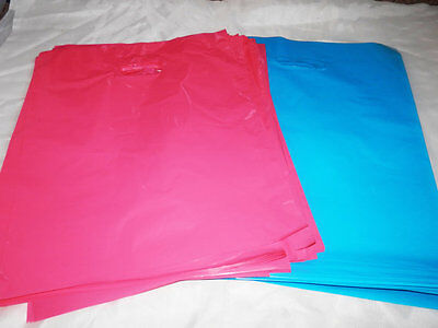 100 12x15 Glossy Pink and Teal Blue Low-Density Merchandise Bags WHandles
