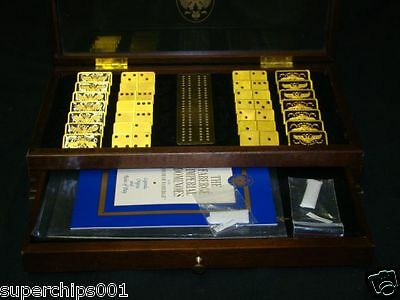 THE FABERGE IMPERIAL DOMINOES COLLECTORS SET IN WOOD CASE BOARD NICE CONDITION 2