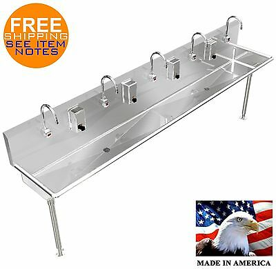 "Hand Sink 100"" 5 Users Stainless Steel With (2) 2"" Npt Drains & Automatic Faucet"