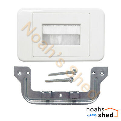 Flush Bristle Brush Cable Inwall Management Wall Plate Wallplate White