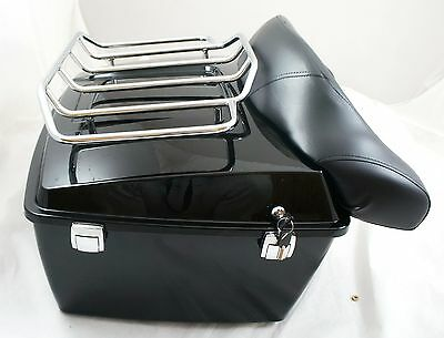 Complete King size Tour pak trunk with top rack fit Harley Davidsion Touring,blk