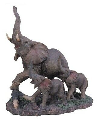 Wild Elephants Statue Mother and Young Animal Figurine Nature