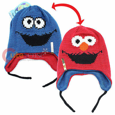 Sesame Street Elmo Cookie Monster Blue Knit Winter Beanie Hat CLEARANCE SALE