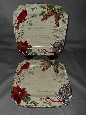 4- 222 Fifth HOLIDAY WISHES Dinner Square Plates Christmas Cardinal Poinsettia