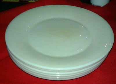 "(6) Fire King Ivory Dinner Plates, 9"" Restaurant ware unusual mark cleas simple"