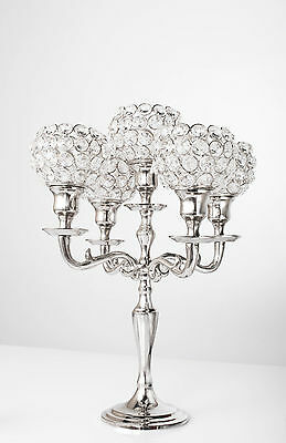"""5 Arm Silver Crystal Candelabra Wedding Centerpieces Votive Candle Holders 14"""" H"""
