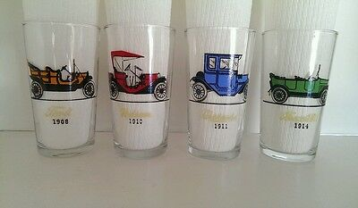 Vintage Hazel Atlas Mid Century Atomic Gay Car Glasses Tumblers lot of 4