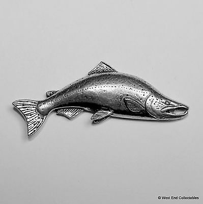 Salmon Pewter Pin Brooch - British Handcrafted - Trout Fly Fishing Gift Present