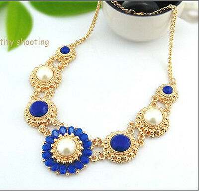 Hot New Design Bohemia Blue Resin Flower Chunky Bib Statement Necklace