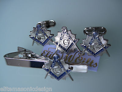 Masonic Master Mason  Cufflinks, lapel pin, and Tie Clip. Silver Plated.