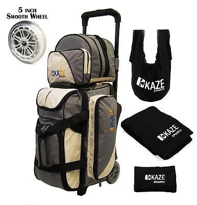 KAZE SPORTS 2 Ball Bowling Roller Bag Smooth Wheels Add On Spare Tote Seesaw Two