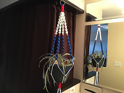 Patriotic American Flag Macrame Plant Hanger 4 Red Wooden Beads Made in USA