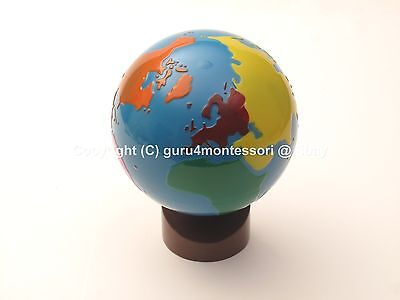 NEW Montessori Geography Material-GLOBE of World Parts (Painted Globe)