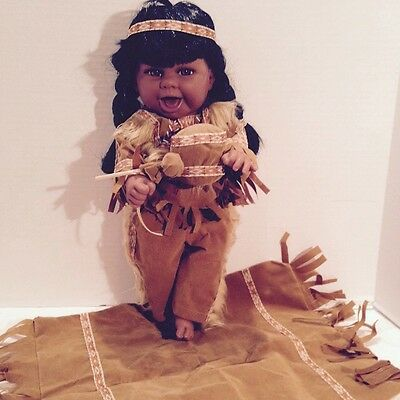 "J Misa Collection Native American Vinyl Doll Approx 18"" H, NEW in Box"