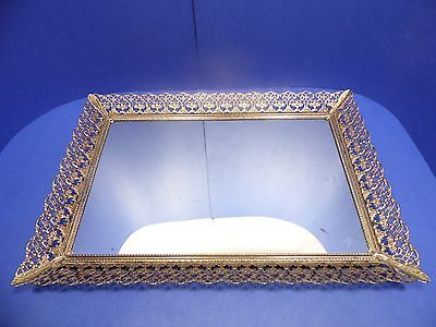 Mirrored Vanity Tray Gold Filigree Mirror Rectangle 16.25X11.25 Dresser
