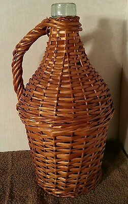 Great Antique Demijohn Wicker wrap Covered Large Green Glass Wine Bottle Handle