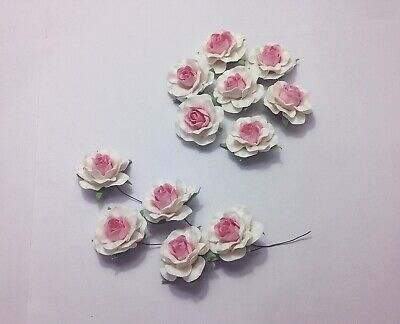 50 pcs White-Pink Roses Mulberry Flowers Paper 35 mm Beautiful Wedding Wire Stem