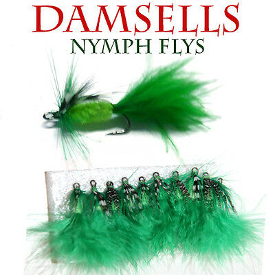 10x Damsell Nymph Flies Fly Fishing Freshwater Crab Craw Shrimp Lures BASS BREAM
