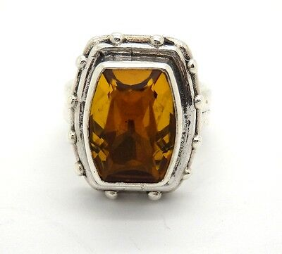 Sterling Silver Vintage Stephen Dweck Citrine Square Beaded Ring, Sz 5.5