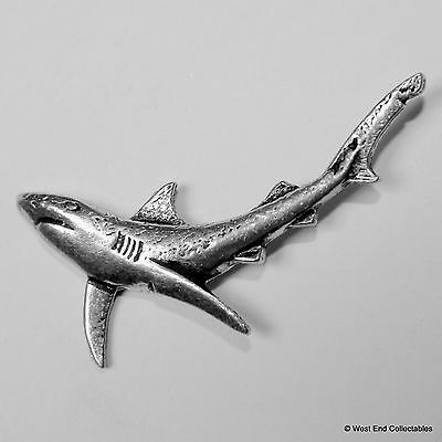 Shark Pewter Pin Brooch -British Hand Crafted- Deep Sea Fishing Gift Present
