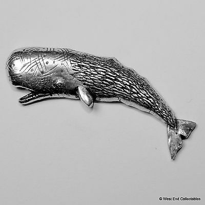 Blue Whale Pewter Pin Brooch -British Hand Crafted- Marine Fish Humpback Jonah