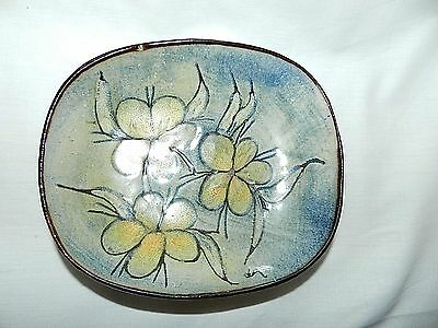 """Chelsea Pottery Glazed Flower Hanging Wall Art Or Dish 6.5"""" X 5.5"""" Signed Plate"""
