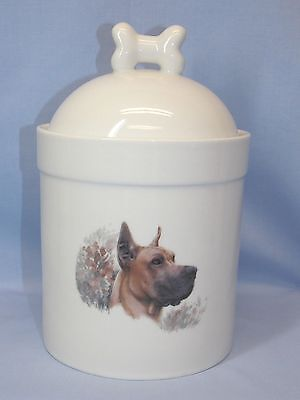 Great Dane Cropped Dog Porcelain Treat Jar Fired Head Decal on Front 8 In Tall