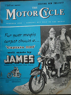 JAMES CAPTAIN 200 COVER / THE MOTORCYCLE 13/03/1958 VINTAGE MAGAZINE