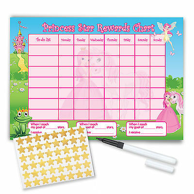 Re-usable Reward Chart (including FREE Stickers and Pen) - Princess Design