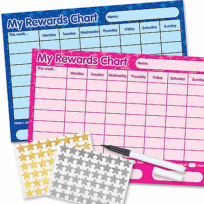 2 Re-usable Reward Chart (including FREE Stickers and Pen) pink/blue twin pack