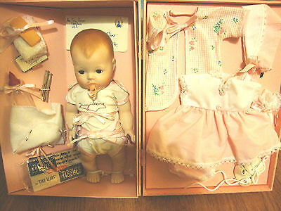"Trunk & Layette 10 1/2"" Tiny Tears Doll  ~Danbury Mint  ~3 Sets Clothes"