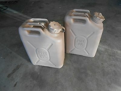 LOT TWO SCEPTER MILITARY FUEL GAS CAN JERRY MFC 20L 5 GAL TAN DRAB OD CAPSTRAP